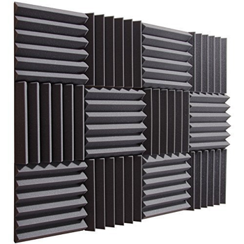 Factory Wholesale Eco-friendly Pyramid Acoustic Foam Panels Black 12 pack Set