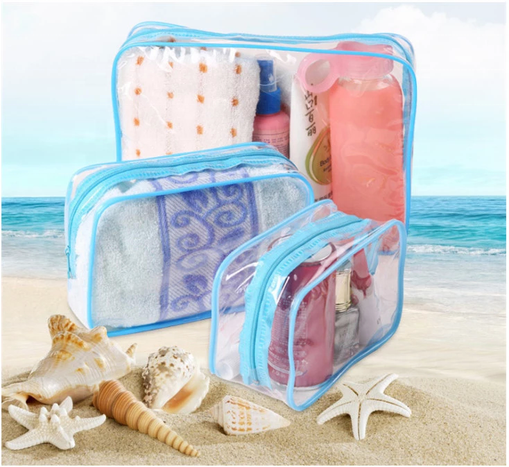 ins <strong>cosmetic</strong> and towel daily necessities set travel waterproof beach clear carry pvc bag