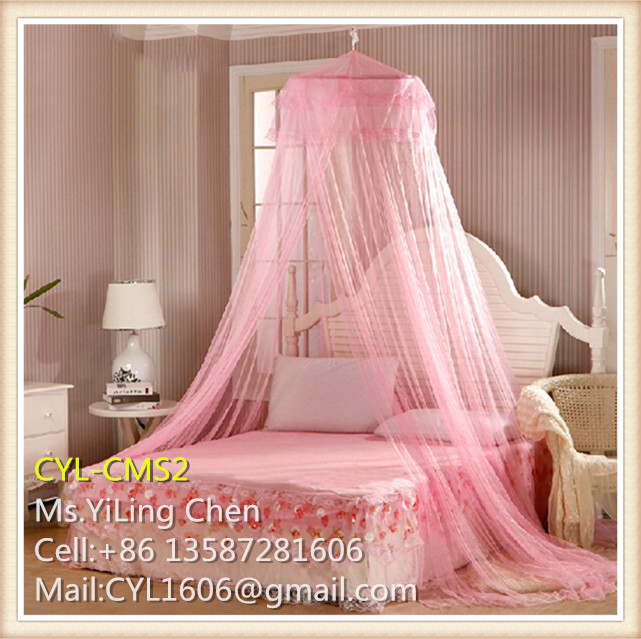 Lace Satin pink Princess single double bed canopy for girls and kids circular mosquito nets