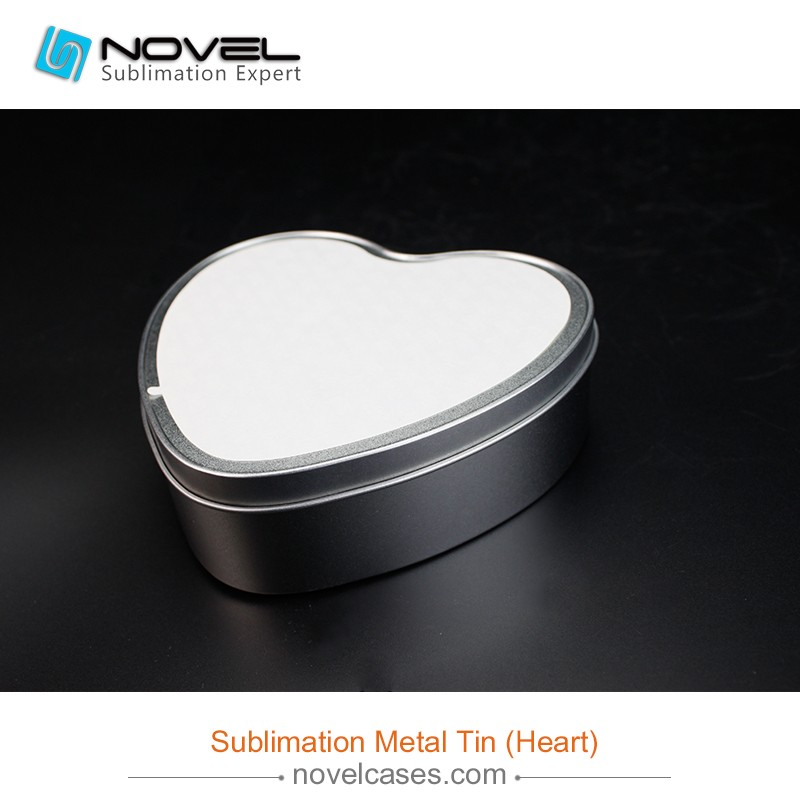 sublimation printing white tin box heart metal tin view