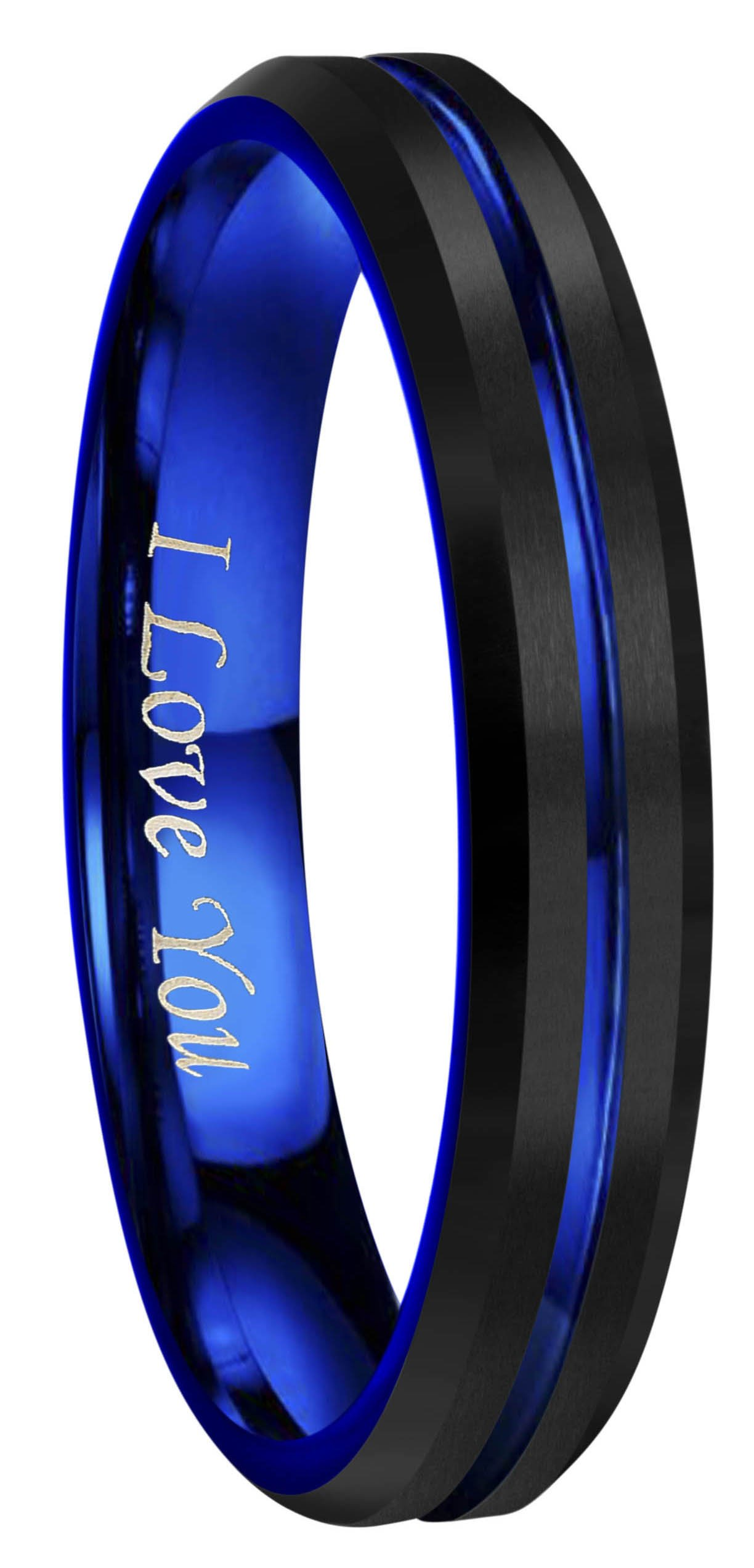 4mm 6mm 8mm 10mm Rose Gold Groove Black Matte Finish Tungsten Carbide Wedding Band Ring EngravedI Love You Size 4 To 17
