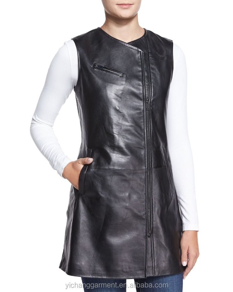 Womens Sleeveless Leather Zip-Front Vest