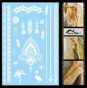 YH-L020W EN71 MSDS Waterproof Bridal White Lace Henna Hand Sticker Temporary Tattoo