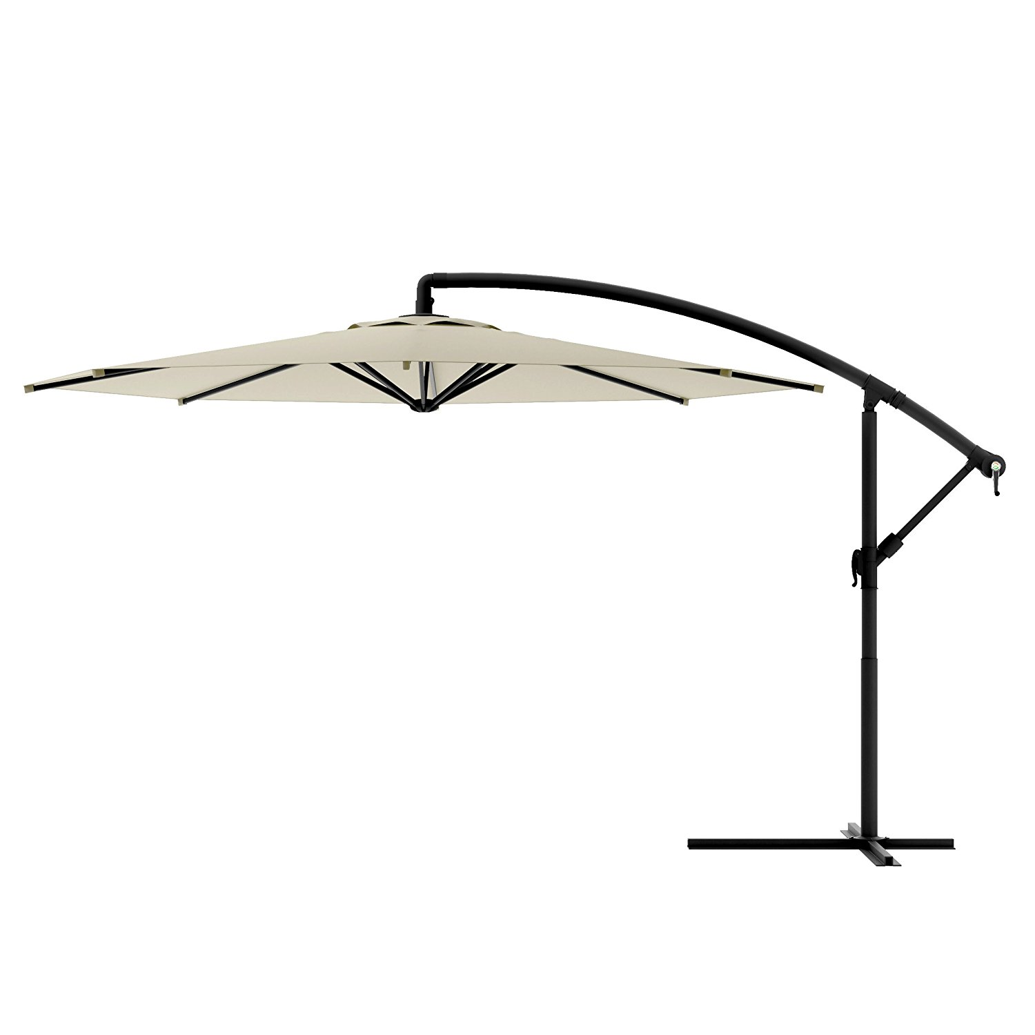 Offset-Umbrella Large Outdoor Adjustable Parasol W/Cantilever Base Stand - Best Sun Uv Protection For Garden, Patio, Lawn, Beach, Backyard, Pool. Solar Cover, Big Shade.10ft (Warm White)