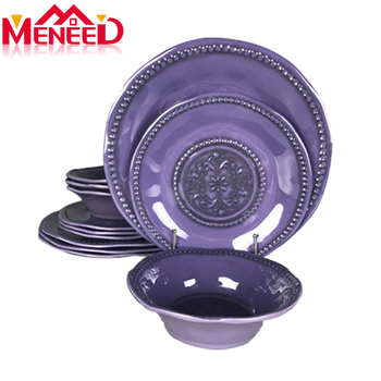 12pcs houseware food contact safe melamine dinnerware sets purple