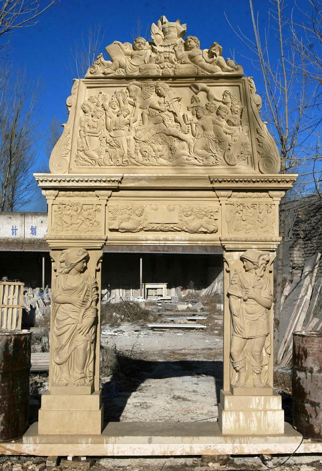 Met de hand gesneden ontworpen stenen open haard marmeren for Engineered fireplace