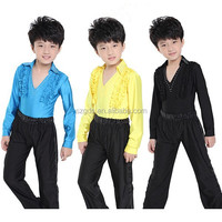 In stock cheap price latin dance wear for boys stage and dance wear boys ballroom latin dance wear (yellow/ black/ blue)