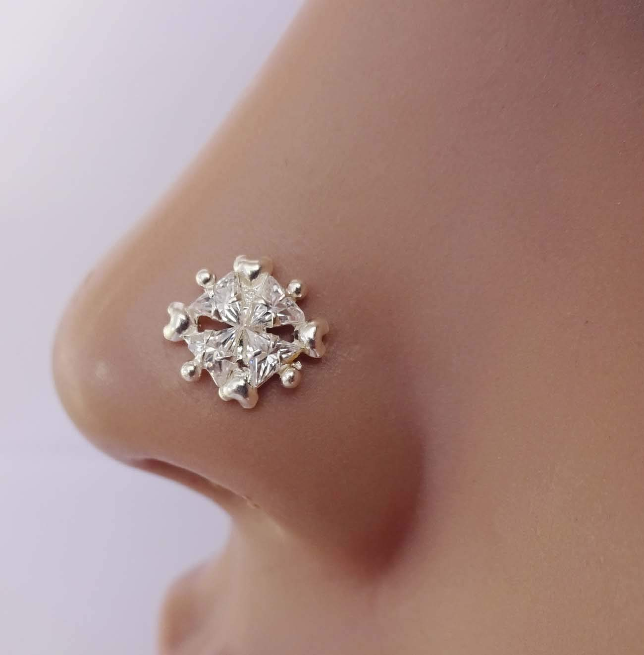 Unique Silver Nose Stud,Silver Nose Cuff,Tiny Gold Piercing,Wedding Nose Screw,CZ Clear Nose Stud,Crock Screw Nose Stud,Crystal Stone Nose Piercing,Silver Diamond Piercing,Monroe Nose Ring(TEJ828)
