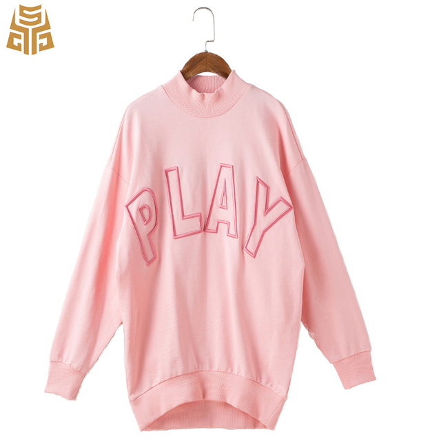 83a3ac78d Womens Fleece Embroidered Plus Oversized Play Cute Hoodie Drop Armhole  Plain Pullover Long Ladies Pink Sweatshirt