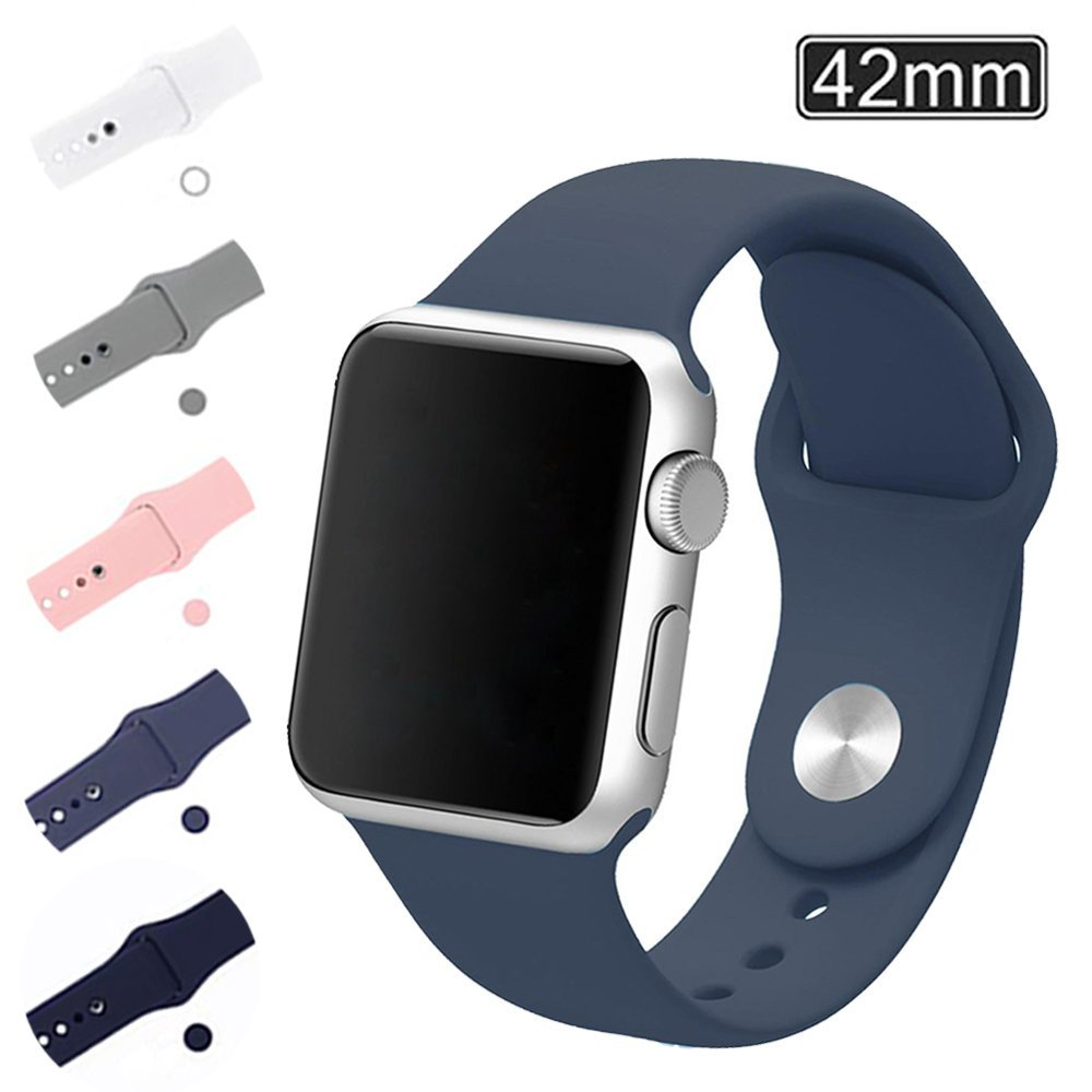 Apple Watch Band 42mm, Soft Silicone Replacement Wrist Strap for iWatch Series 2, Series 1, Nike+ Fits Wrist 160mm (Blue)