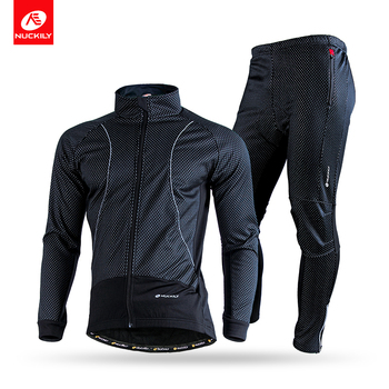 c2fb09cc0 Nuckily Cycling Thermal Set Men Fleece Wind Jacket And Cycling Tight ...