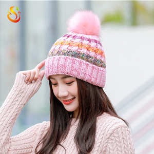Korean version of the big hair ball color strip knit outdoor plus velvet thick wool hat warm female hat