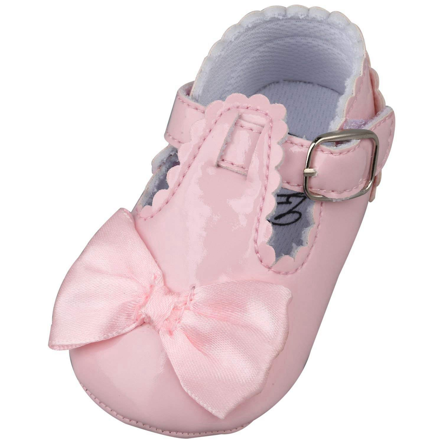 SODIAL(R) Newborn Baby Girl Bow Anti-slip Crib Shoes Soft Sole Sneakers Prewalker 0-6M Pink S