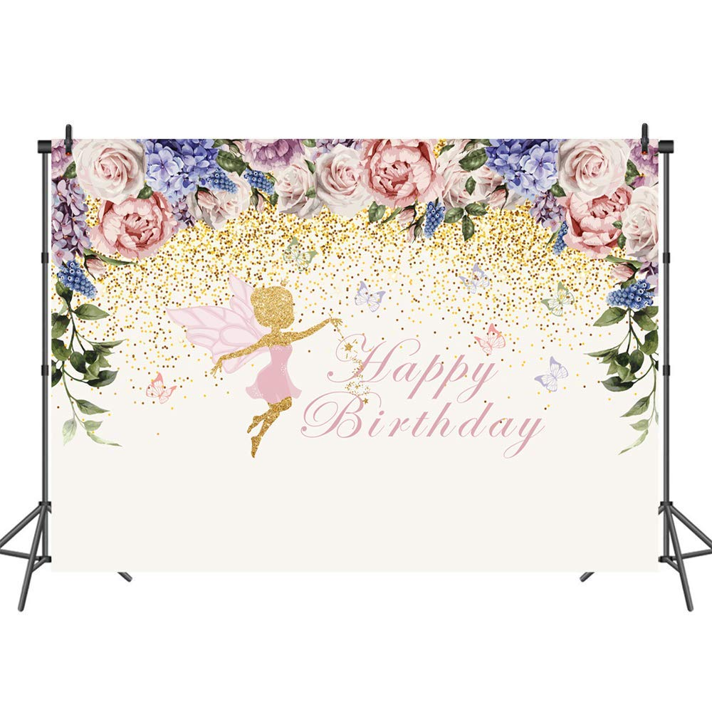 Mehofoto Fairy Princess Backdrop Butterflies Pixie Party Photography Backdrops 7x5ft Watercolor Flower Glimmer Pink Gold Vinyl Background Birthday Party Decorations Supplies