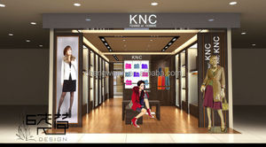 casual clothes retail store shopfitting, metal frame clothes shop fixtures, wall display hanging shelving for clothes