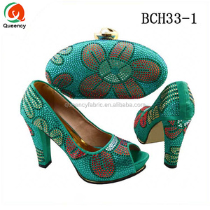 BCH33 Queency New Coming African Women High Heels Ladies Wedding Matching Italian Shoes and Bag Set