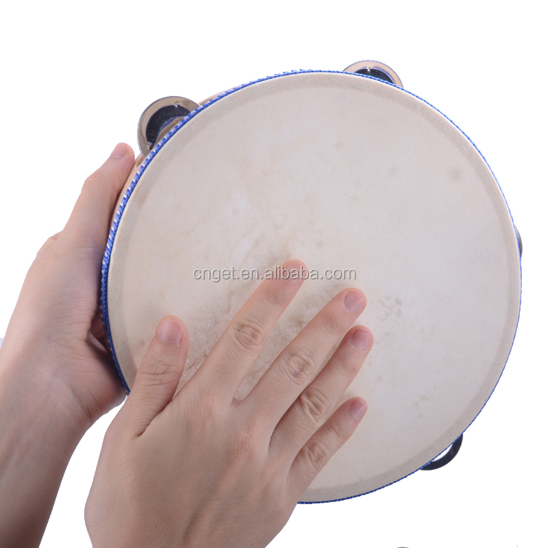"8"" Hand Held Tambourine Drum Bell Birch Metal Jingles Percussion Musical Educational Toy Instrument for KTV Party Kids Games"