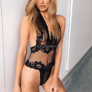 "2018 Popular Women Ladies Nighty ""V"" Collar Lace bodysuit Backless Sexy Lingerie"