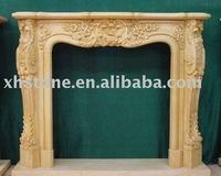 Shanxi yellow marble stone fireplace