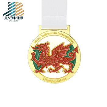 3D sports gold plated iron enamel metal taekwondo dragon medals and medallion