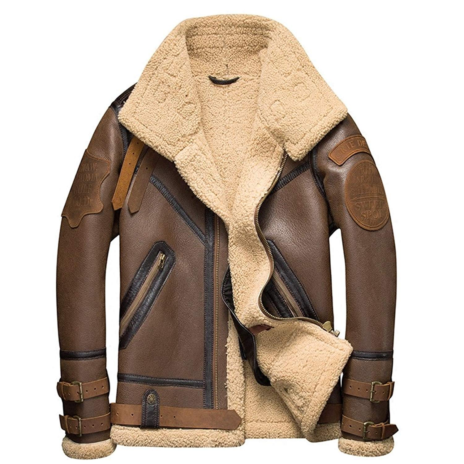e826101a0bc55 Get Quotations · Denny Dora B3 Shearling Leather Jacket Mens Shearling Coat  Crack Texture Pilot Leather Jacket