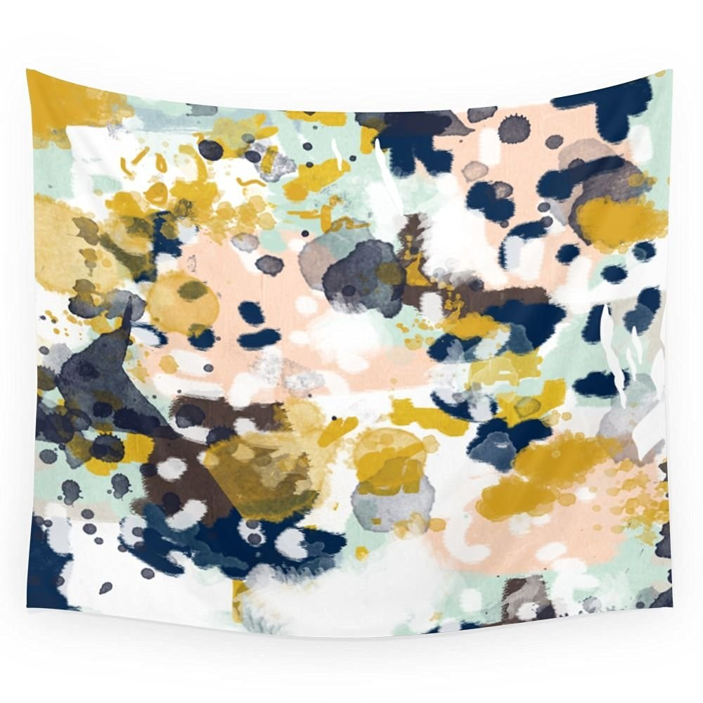 "Society6 Sloane - Abstract Painting In Modern Fresh Colors Navy, Mint, Blush, Cream, White, And Gold Wall Tapestry Small: 51"" x 60"""
