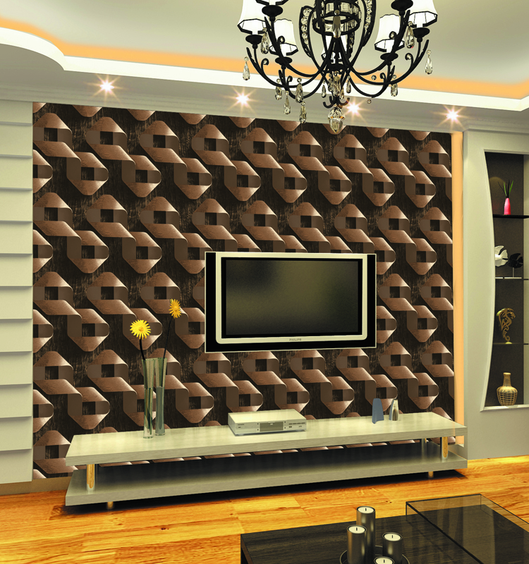 Classical style PVC fluorescent 3d bedroom wallpaper
