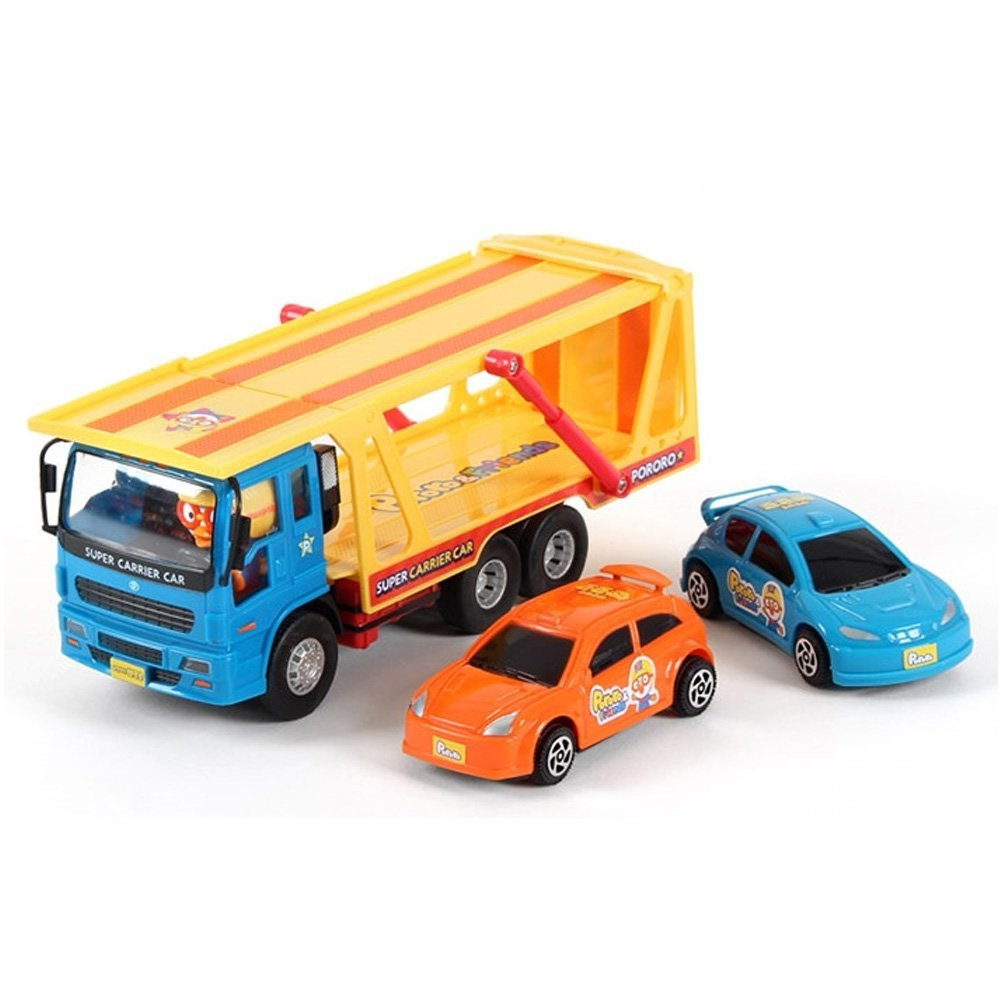 Iconix Korea Pororo Korea Super Carrier Car Play Toy Set with Carrier Truck x 1 and Little Car x 2 Toy Play Set for Kids Gift