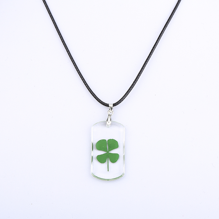 <strong>Fashion</strong> lady's real green four leaf clover lucky pendant necklace