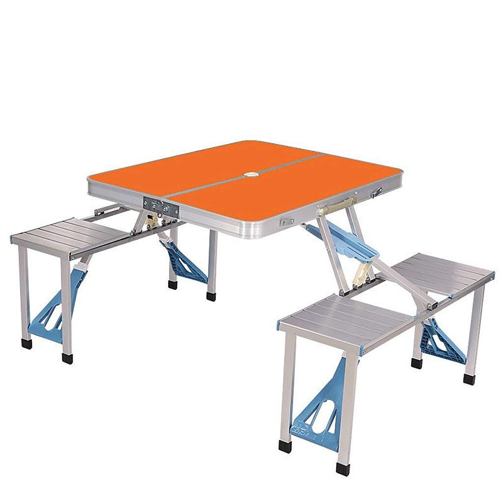 Portable Camping Table And Chairs Set Wood-based Panels and Aluminum Folding Picnic Table Lightweight Outdoor Patio Table with Umbrella Hole (Color : Orange)