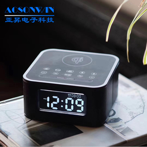High Quality Hotel LED USB Alarm Clock Speaker with Oi Wireless Charging