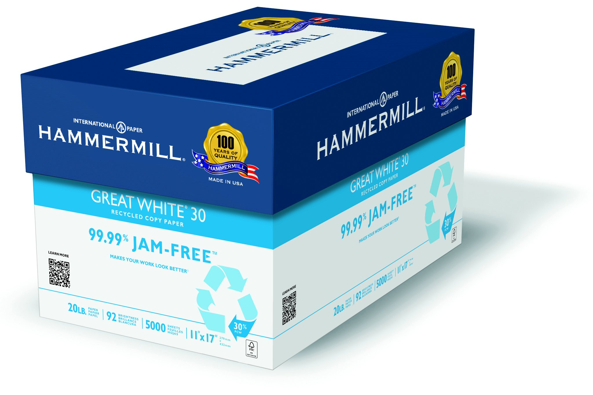 Hammermill Paper, Great White Copy Paper 30% Recycled, 20lb, 11 x 17, Ledger, 92 Bright, 2500 Sheets / 5 Ream Case, (086750C), Made In The USA