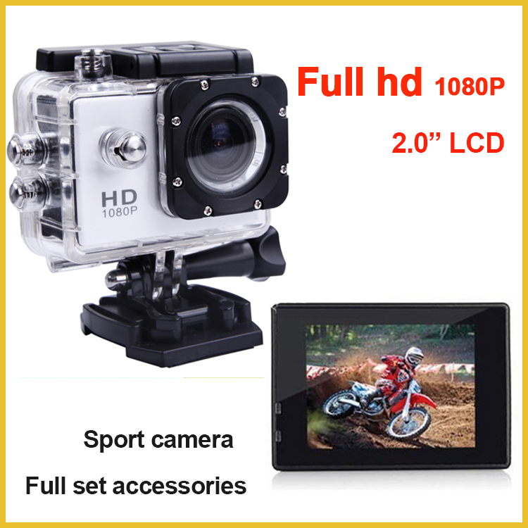 "2"" touch screen 12 mega pixels waterproof 30m full hd 1080p action cam sports camera with full set accessories"