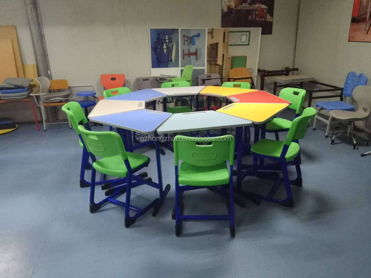 Collaborative smart classroom furniture student chair and table