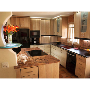 China Factory Hanging Type Modular Pecan Wood Kitchen ...