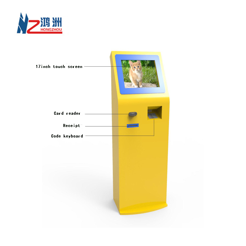 Self service check scanner kiosk with receipt printer
