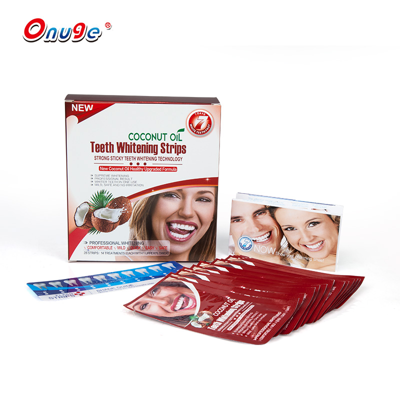 Coconut Oil Flavor Dry Teeth Whitening Strips with custom package box bleaching kit private label
