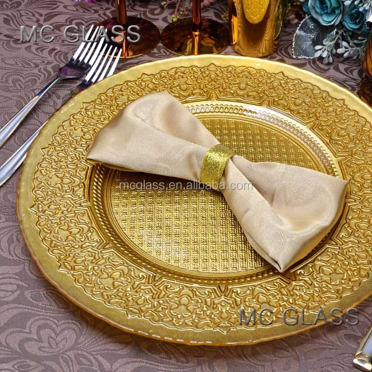 Wholesale Unique Restaurant and Wedding Decoration Gold Silver Glass Rental Charger Plate