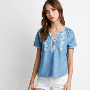 Ms71092l Wholesale Ladies Denim Tops Fancy Girls T Shirts Embroidery