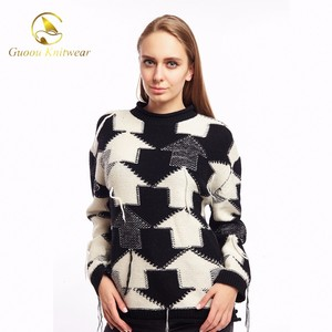 Guoou Knitwear Jumpers Women Pullover Sweater Intarsia Crew Neck Sweater