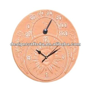 Nice Terracotta Garden Clock With Thermometer