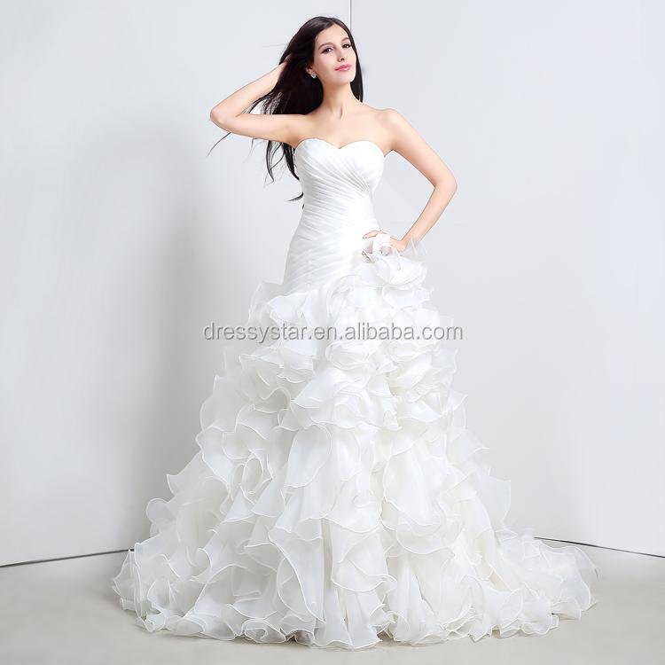 Ball Gown Ruffled Wedding Dress Wholesale, Wedding Dress Suppliers ...