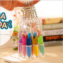 Promotional liquid floater pen 3D floater liquid ball pen Keychain liquid pen