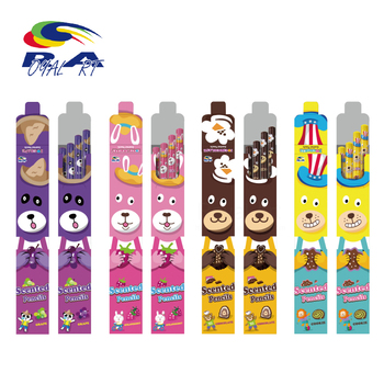 Long Lasting Custom Logo Scented Hb Wooden Pencils Students Kids Graphite Pack 4pcs For Each Scents Unique Stationery