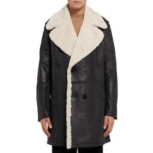 OEM Men Long Sleeve Double-Breasted Fuax Fur Shearling Leather Coat