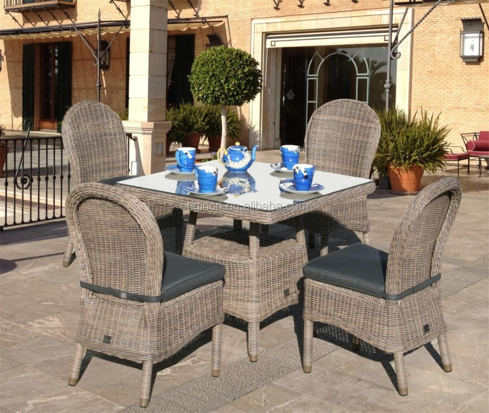 Retro style stunning outdoor small table and rattan armless chair furniture regal garden dining set