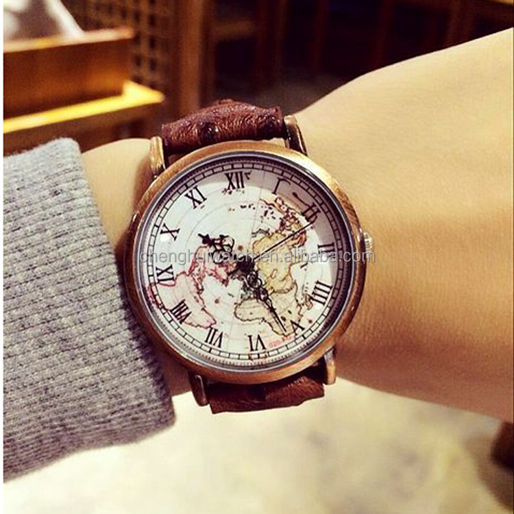 Elegant Large rose gold Face Watch with Thin white Band watch