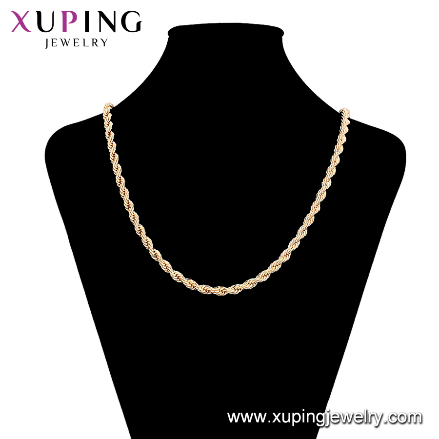 45452  xuping jewelry   18K gold plated men's chain necklace
