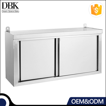 Commercial Restaurant stainless steel kitchen wall hanging cabinet with Sliding Doors & Splashback
