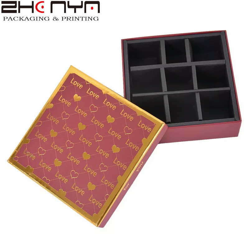 Red rectangle gift boxes 12 slots high-grade choco boxes